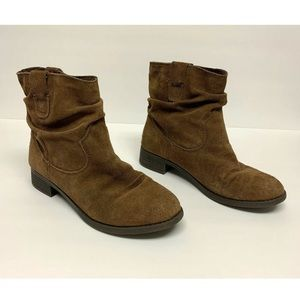 American Eagle Suede Slouchy Ankle Booties Boot